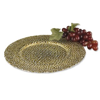 Snakeskin 13-inch Gold Glass Charger (Set of 4)