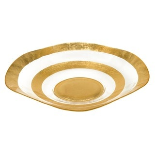 Gold Leaf 19-inch Glass Wave Bowl