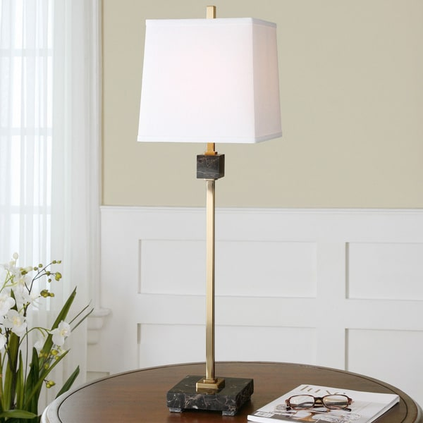 Uttermost Sandler Metal Marble Fabric Floor Lamp