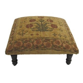 Corona Decor Hand-woven Tan/ Red Floral Footstool
