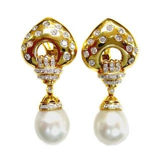 Kabella Luxe Vintage 18k Yellow Gold Diamond South Sea Pearl Dangle Estate Earrings