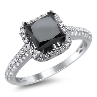18k White Gold 2 1/5ct TDW Certified Black and White Diamond Halo Ring (F-G, SI1-SI2)