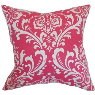 Malaga Damask Candy Pink Feather Filled 18-inch Throw Pillow