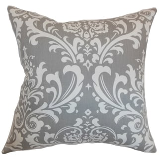Malaga Damask Storm Feather Filled 18-inch Throw Pillow