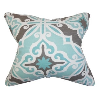Adriel Geometric Blue Gray Feather Filled 18-inch Throw Pillow