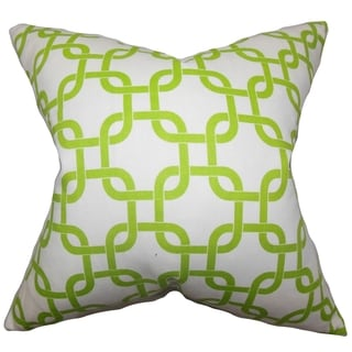 Qishn Geometric Green White Feather Filled 18-inch Throw Pillow
