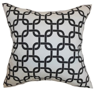 Qishn Geometric White Black Twill Feather Filled 18-inch Throw Pillow