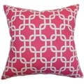 Qishn Geometric Candy Pink Feather Filled 18-inch Throw Pillow