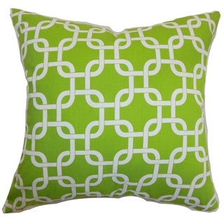 Qishn Geometric Chartreuse Feather Filled 18-inch Throw Pillow