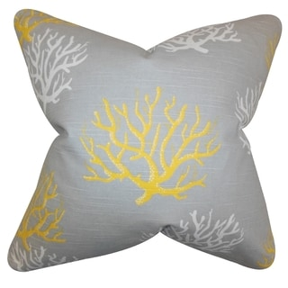 Hafwen Coastal Yellow Feather Filled 18-inch Throw Pillow