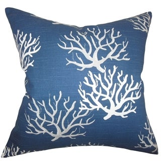 Hafwen Coastal Navy Blue Feather Filled 18-inch Throw Pillow