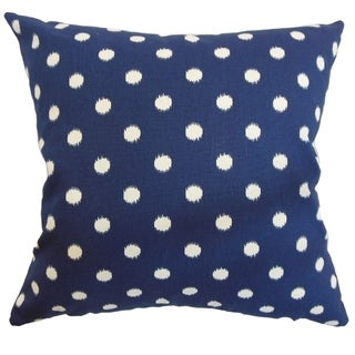 Rennice Ikat Dots Navy Natural Feather Filled 18-inch Pillow