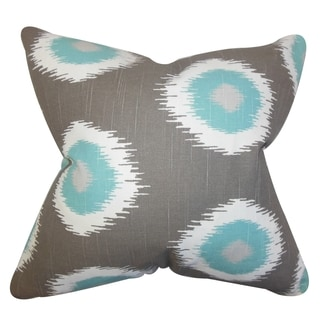Paegna Ikat Pilllow Gray Feather Filled 18-inch Throw Pillow