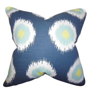 Paegna Ikat Blue Feather Filled 18-inch Throw Pillow