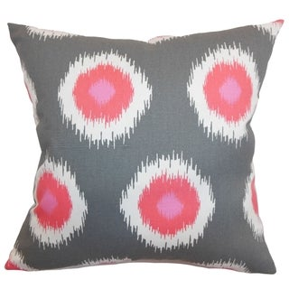 Paegna Ikat Flamingo Feather Filled 18-inch Throw Pillow