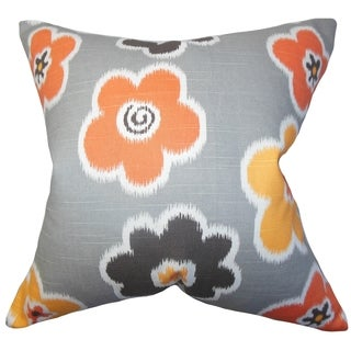 Cece Floral Gray Feather Filled 18-inch Reversible Throw Pillow