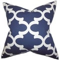 Titian Geometric Blue Feather Filled 18-inch Throw Pillow