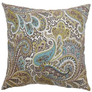 Dorcas Paisley Chocolate Feather Filled 18-inch Throw Pillow