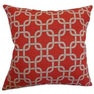 Qishn Geometric Adventurous Red Feather Filled 18-inch Throw Pillow