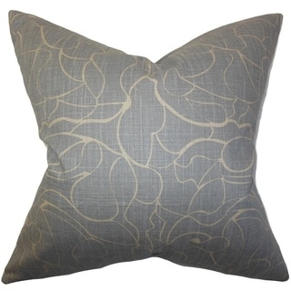 Eames Floral Gray Feather Filled 18-inch Throw Pillow