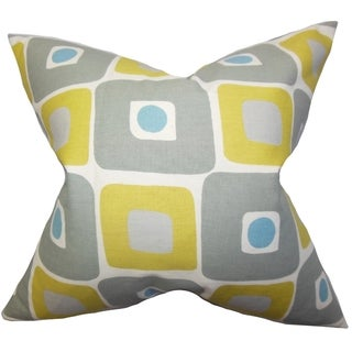 Delight Geometric Yellow Feather Filled 18-inch Throw Pillow