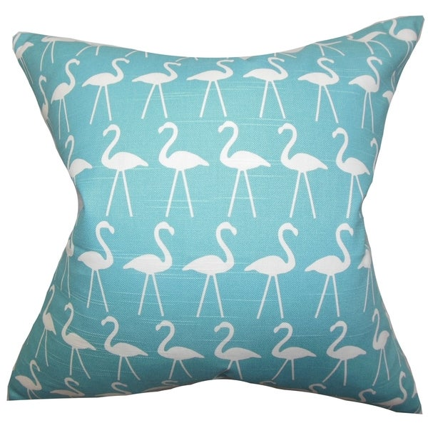 Elili Animal Print Blue Feather Filled 18-inch Throw Pillow