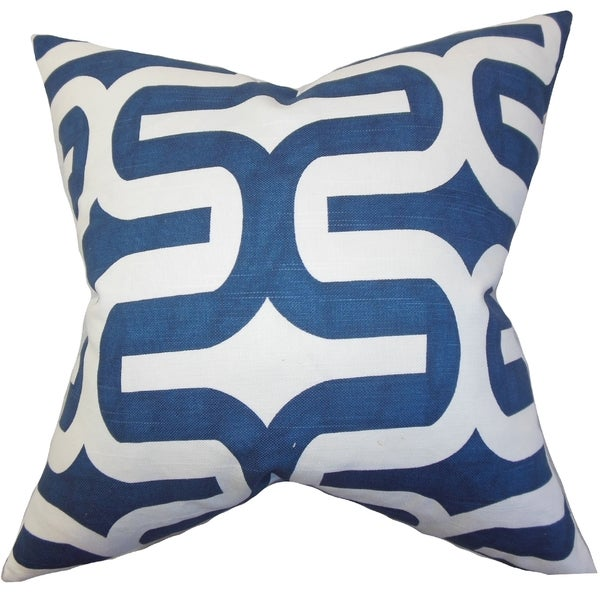 Jaslene Geometric Navy Blue Feather Filled 18-inch Throw Pillow