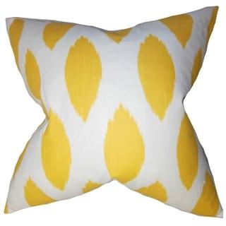 Juliaca Ikat Yellow Feather Filled 18-inch Throw Pillow