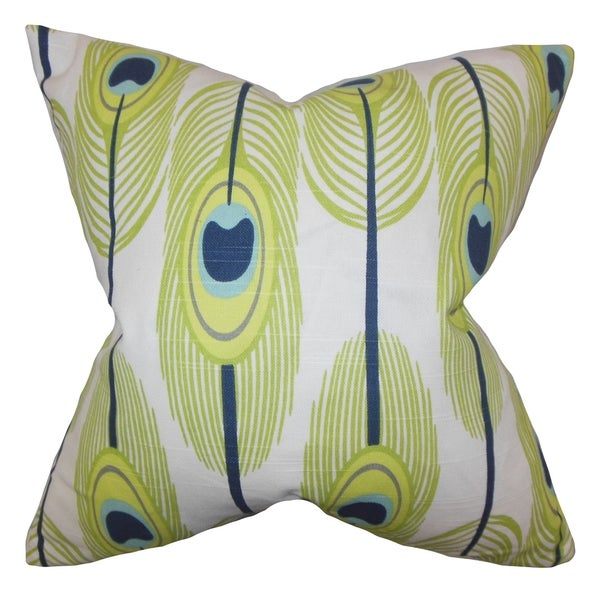 Hedy Feather Green Feather Filled Throw Pillow