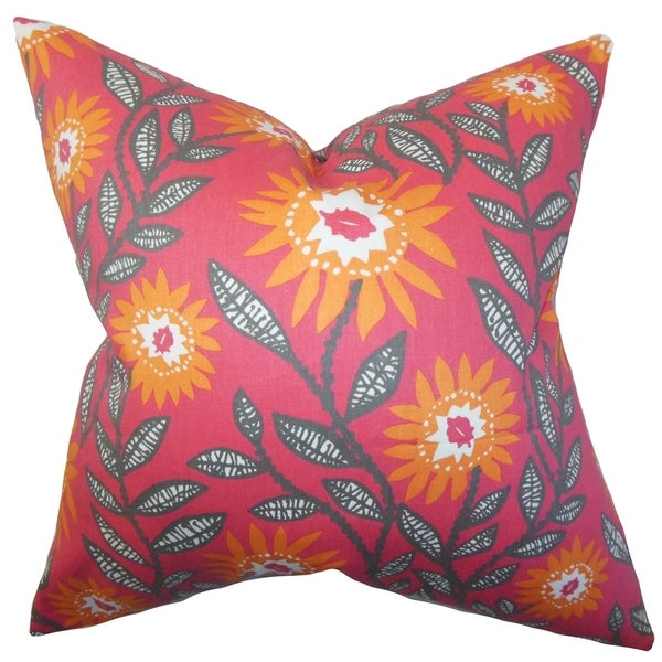 Leena Floral Pink Feather Filled Throw Pillow