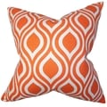 Larch Geometric Orange Feather Filled 18-inch Throw Pillow