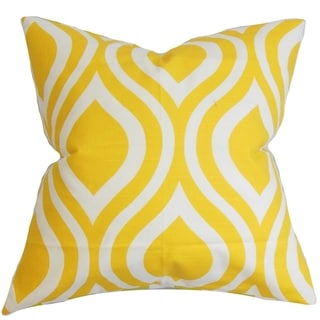 Larch Geometric Yellow Feather Filled 18-inch Throw Pillow