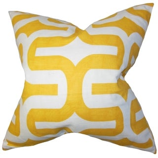 Jaslene Geometric Yellow Feather Filled 18-inch Throw Pillow