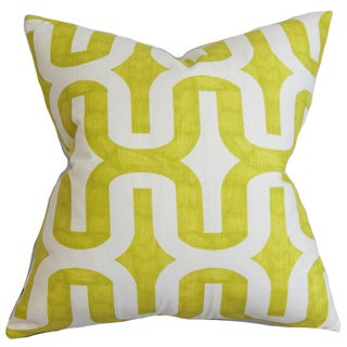 Jaslene Geometric Green Feather Filled 18-inch Throw Pillow
