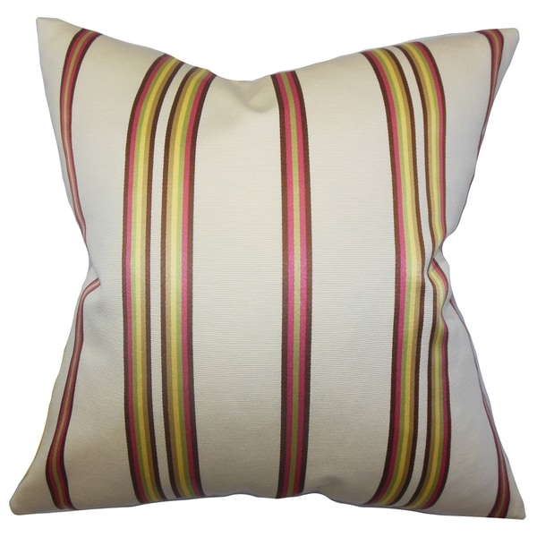 Hatsy Stripes White Pink Feather Filled 18-inch Throw Pillow
