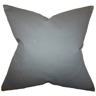 Kalindi Solid Grey Feather Filled Throw Pillow