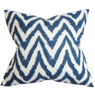 Kingspear Zigzag Navy Blue Feather Filled 18-inch Throw Pillow