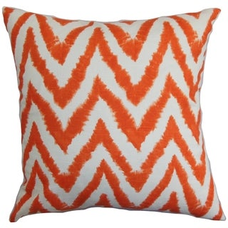 Kingspear Zigzag Orange Feather Filled 18-inch Throw Pillow
