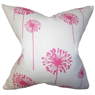 Dandelion Floral Pink Feather Filled 18-inch Throw Pillow