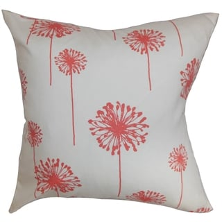 Dandelion Floral White Coral Feather Filled 18-inch Throw Pillow