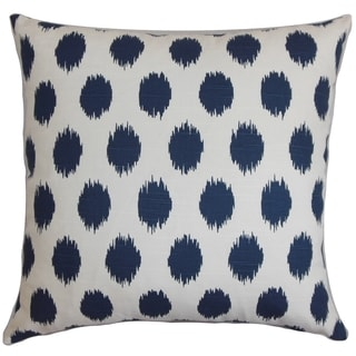 Faustine Dots Navy Blue Feather Filled 18-inch Throw Pillow