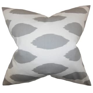 Juliaca Ikat White Gray Feather Filled 18-inch Throw Pillow