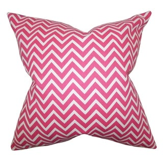 Sula Zigzag Candy Pink Feather Filled 18-inch Throw Pillow