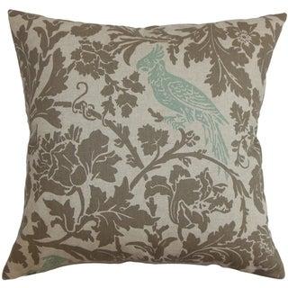 Gayndah Floral Pepton Blue Linen Feather Filled 18-inch Throw Pillow