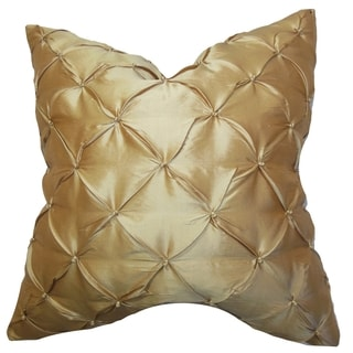 Pecola Silk Gold Feather Filled 18-inch Throw Pillow