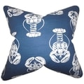 Haya Coastal Navy Blue Feather Filled 18-inch Throw Pillow