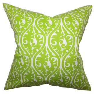 Mechria Geometric Chartreuse Green Feather Filled 18-inch Throw Pillow