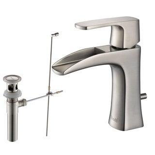 Rivuss Carrion Lead-Free Solid Brass Single-Lever Bathroom Faucet Brushed Nickel Finish with Pull-Out Drain
