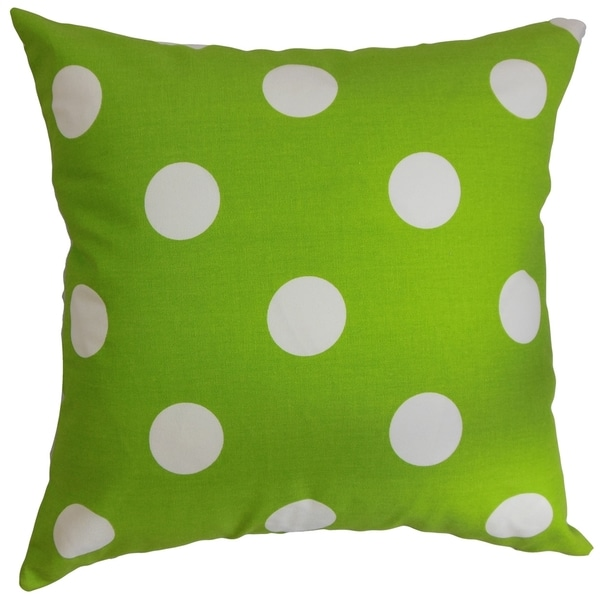 Rane Polka Dots Chartreuse White Feather Filled Throw Pillow