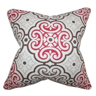 Nascha Geometric Red Blue Feather Filled 18-inch Throw Pillow